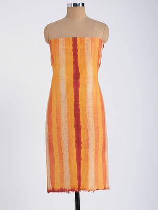 Orange-Red Shibori-dyed Tussar Muga Silk Kurta Fabric