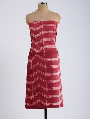 Red-Ivory Shibori-dyed Tussar Muga Silk Kurta Fabric
