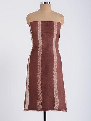 Maroon-Ivory Shibori-dyed Tussar Muga Silk Kurta Fabric