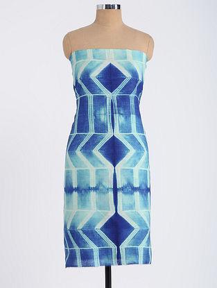 Blue Shibori-dyed Tussar Muga Silk Kurta Fabric