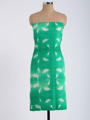 Green-Ivory Shibori-dyed Tussar Muga Silk Kurta Fabric