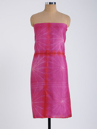 Pink-Red Shibori-dyed Tussar Muga Silk Kurta Fabric