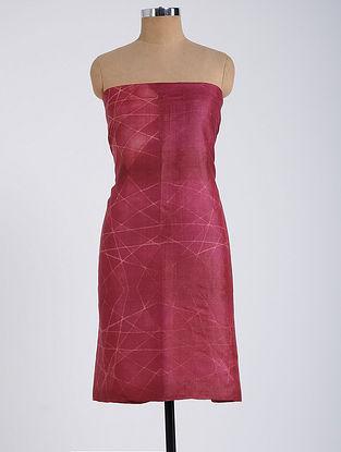 Red Shibori-dyed Tussar Muga Silk Kurta Fabric