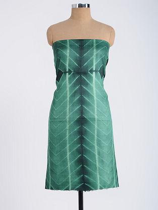 Green Shibori-dyed Tussar Muga Silk Kurta Fabric