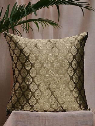Grey and Gold Brocade and Bamboo Silk Cushion Cover (16in x 16in)