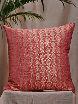 Rose Pink Brocade and Bamboo Silk Cushion Cover (16in x 16in)