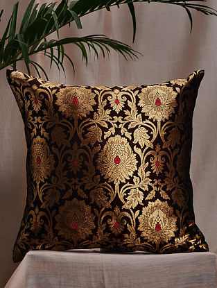 Deep Wine Brocade and Bamboo Silk Cushion Cover (16in x 16in)