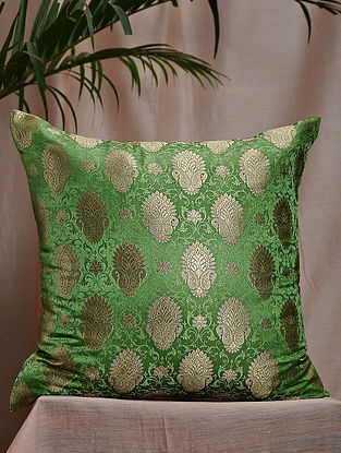 Leaf Green Brocade and Bamboo Silk Cushion Cover (16in x 16in)