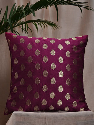 Purple-Multicolor Brocade and Bamboo Silk Cushion Cover (16in x 16in)