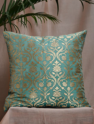 Mint Green Brocade and Bamboo Silk Cushion Cover (16in x 16in)