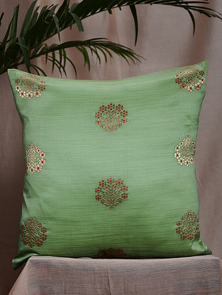 Mint Green and Beige Brocade and Bamboo Silk Reversible Cushion Cover (16in x 16in)
