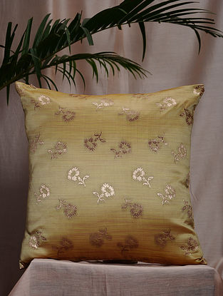 Lime and Beige Brocade and Bamboo Silk Reversible Cushion Cover (16in x 16in)