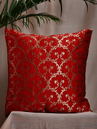 Red Brocade and Bamboo Silk Cushion Cover (16in x 16in)