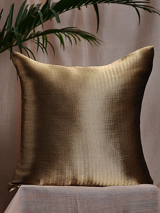 Black and Gold Brocade and Bamboo Silk Cushion Cover (16in x 16in)