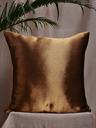 Copper Brocade and Bamboo Silk Cushion Cover (16in x 16in)
