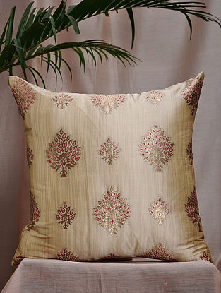 Emerald and Red Brocade and Bamboo Silk Cushion Cover (16in x 16in)