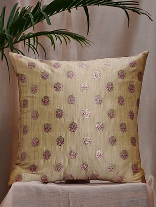 Beige and Pink Brocade and Bamboo Silk Cushion Cover (16in x 16in)