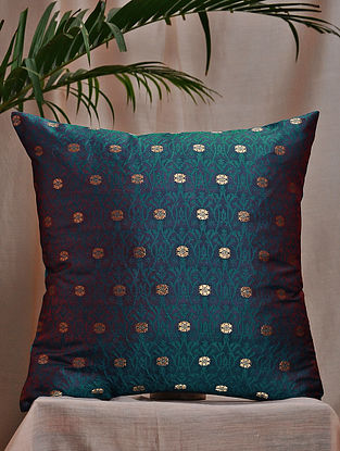 Emerald Green-Multicolor Brocade and Bamboo Silk Cushion Cover (16in x 16in)