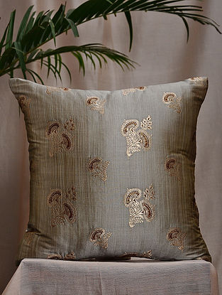 Grey Brocade and Bamboo Silk Cushion Cover (16in x 16in)