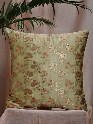 Light Green Brocade and Bamboo Silk Cushion Cover (16in x 16in)