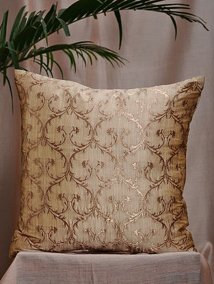 Cream Brocade and Bamboo Silk Cushion Cover (16in x 16in)