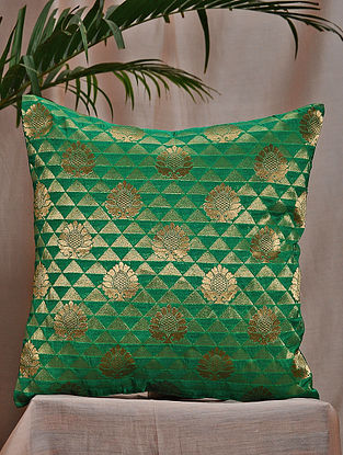 Green Brocade and Bamboo Silk Cushion Cover (16in x 16in)