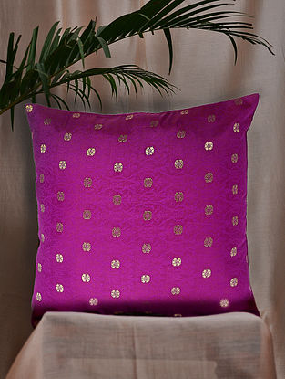 Purple and Pink Brocade and Bamboo Silk Cushion Cover (16in x 16in)