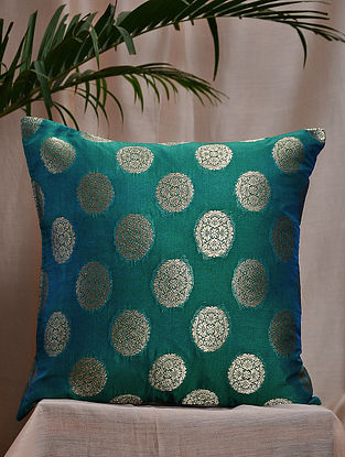 Peacock Green Brocade and Bamboo Silk Cushion Cover (16in x 16in)