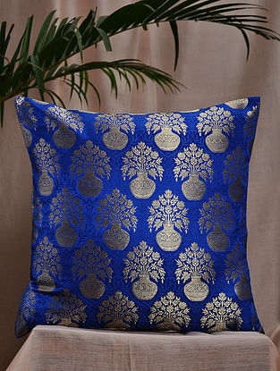 Royal Blue Brocade and Bamboo Silk Cushion Cover (16in x 16in)