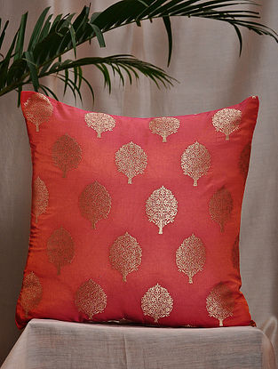Coral Brocade and Bamboo Silk Cushion Cover (16in x 16in)