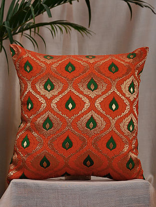 Vermillion and Green Brocade and Bamboo Silk Cushion Cover (15.5in x 15.5in)