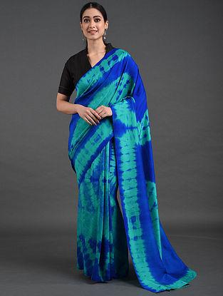 Blue-Green Shibori Dupion Silk Saree