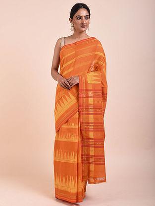 Orange Shibori Cotton Saree with Zari