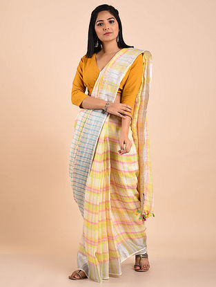 White-Yellow Handwoven Linen Saree with Zari and Tassels