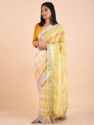 Yellow-Green Handwoven Linen Saree with Zari and Tassels