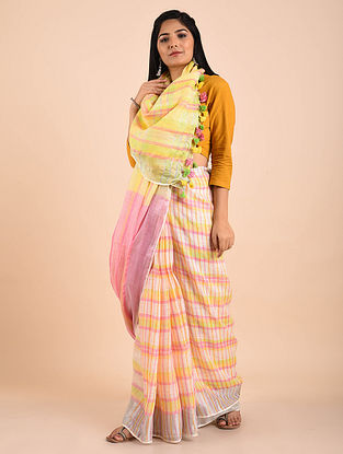 Yellow-Pink Handwoven Linen Saree with Zari and Tassels