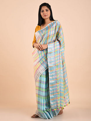 Blue-Orange Handwoven Linen Saree with Zari and Tassels