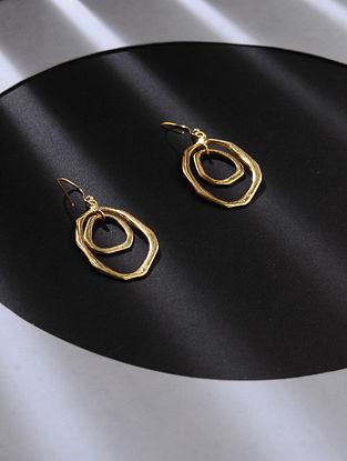 Gold Tone Silver Handcrafted Earrings