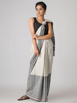 Ivory-Grey Handspun Khadi Cotton Saree