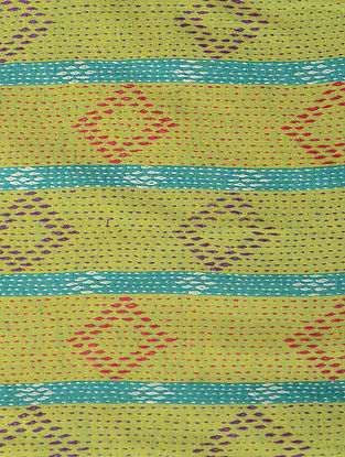 Green-Yellow Kantha-embroidered Cotton Dupatta