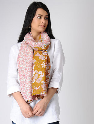 Pink-Mustard Printed Kantha-embroidered silk Reversible Stole