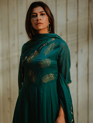 Emerald Gold Embroidered Mul Dupatta with Scallop Details
