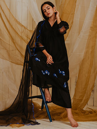 Black Blue Embroidered Organza Dupatta with Scallop Details