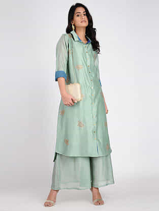 Green Embroidered Chanderi Tunic