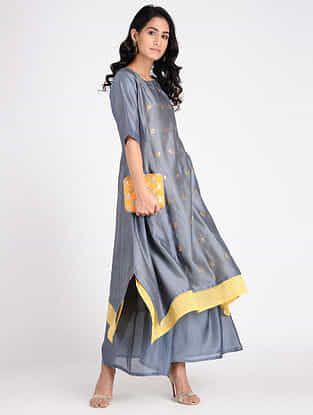 Grey Embroidered Chanderi Tunic