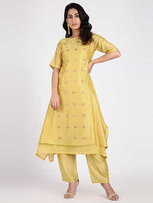 Yellow Embroidered Chanderi Tunic