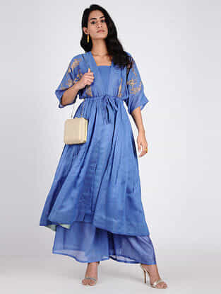 Blue Embroidered Chanderi Kimono Jacket with Slip (Set of 2)