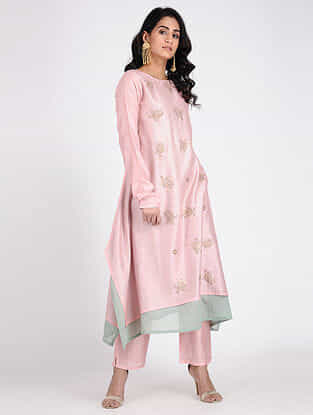 Pink Embroidered Chanderi Tunic