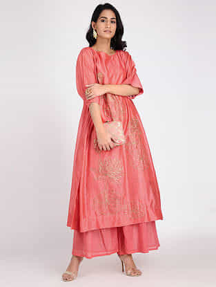Coral Embroidered Chanderi Tunic with Slip (Set of 2)