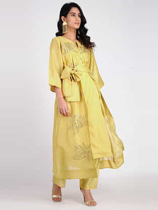 Yellow Embroidered Chanderi Jacket with Slip (Set of 2)